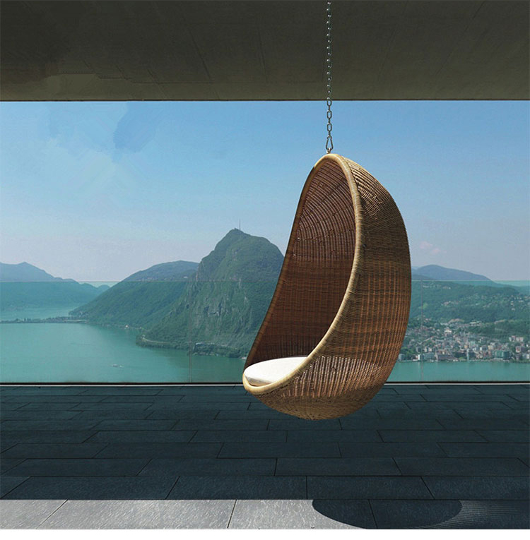 Hot PE Rattan Hanging Egg Chair Swing Indoor Outdoor Adult Hanging Chair Sofa Nordic Balcony Rocking Chair Outdoor Swing Weaving
