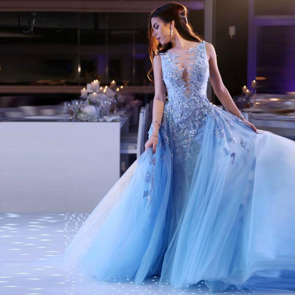 Princess Sky Blue 3D Flower Long   Evening     Dresses   With Detachable Train Lace Beaded Mermaid Prom Gowns Tutu Formal   Dresses   2019
