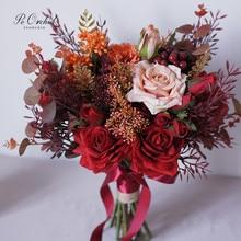 PEORCHID Vintage Borgoña rosa para ramo de novia decoración con flores artificiales 2020 nuevo ramo de broche de oro nupcial