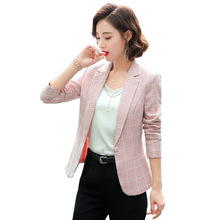 Ladies Business Professional Jacket Large Size S-5XL Autumn Slim Plaid Full Sleeve Womens Blazer High quality office jacket