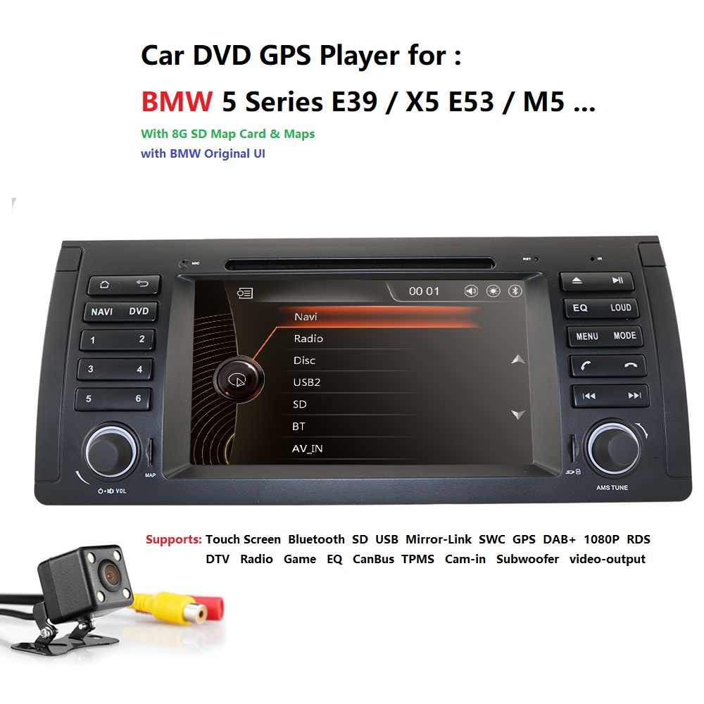 2din car radio dvd gps wince 800X480 For BMW E39 E53 M5(1996-2007) Bluetooth Mirror link BT 1080P 16gMap RDS TPMS USB SWC DAB PC