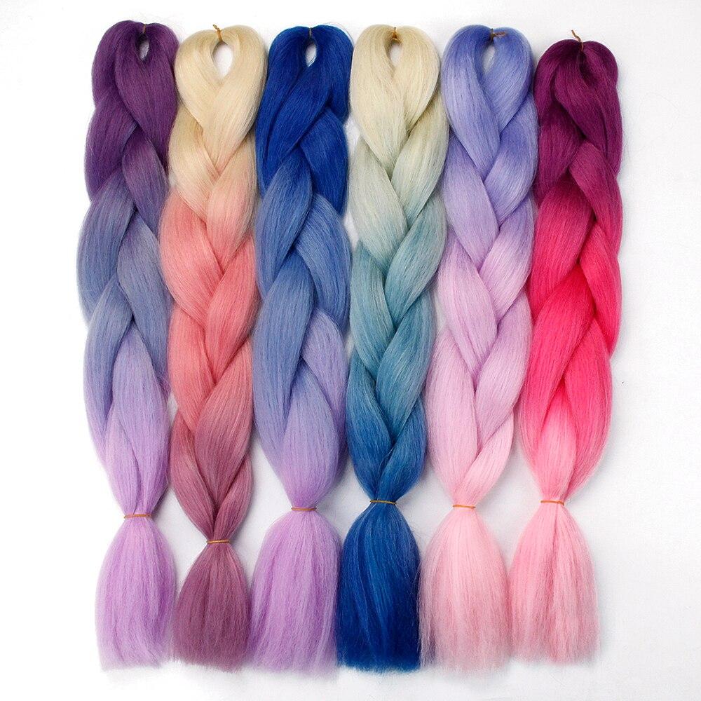 Synthetic hair Braids Ombre Braiding Hair Extension Box Braid Hair Pink Purple Yellow Golden Colors Crochet braids Kanekalon