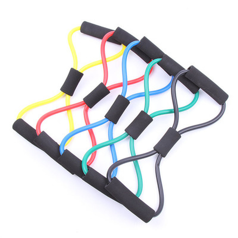 Newly Control Weight Expansion Rubber Tubing Pull On Rope Fitness Elastic Band Yoga 8 Word
