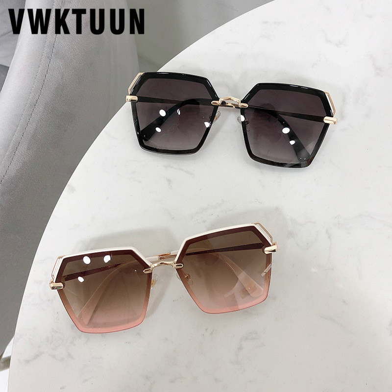 Vwktuun luxo óculos de sol feminino vintage oversized óculos de sol armação de metal uv400 pontos viajar condução óculos de sol