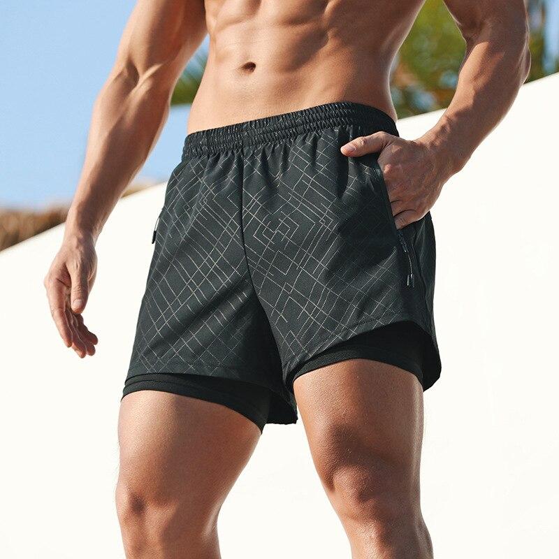 Шорты мужские 2 в 1 для бега, быстросохнущие дышащие спортивные штаны с карманами для фитнеса, тренажерного зала, тренировок, 4 цвета, на молни...