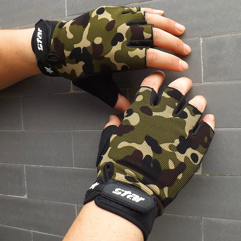 Camouflage Fingerless Gloves Men Winter 2019 Fashion Casual Printed Cycling Bike Fitness Outdoor Sports Tactical Gloves Womens