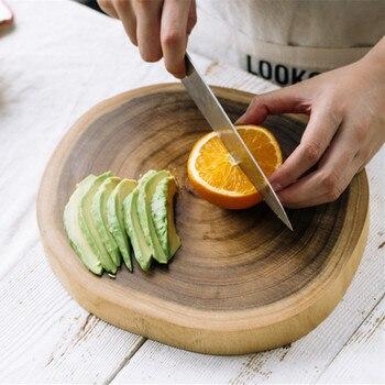 Creative Acacia Wood Chopping Blocks Whole Wood Round Home Use Mini Fruits Cutting Boards Mildew Proof Tableware