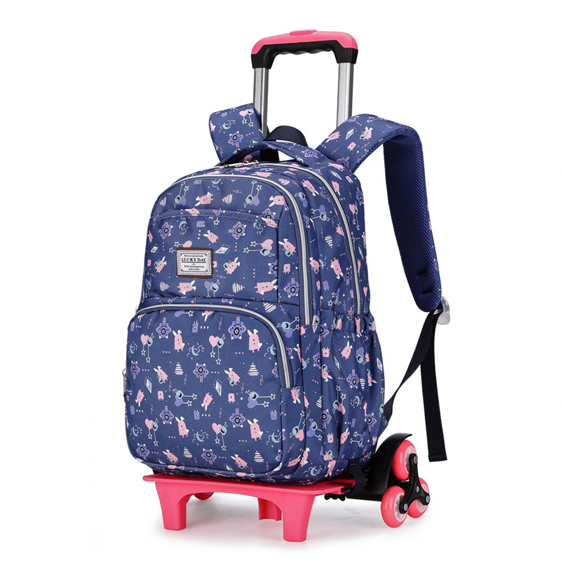 2020 Removable Wheeled Schoolbag Children Printing Luggage Book Bags Travel Waterproof Backpack Trolley School Bags For Girls