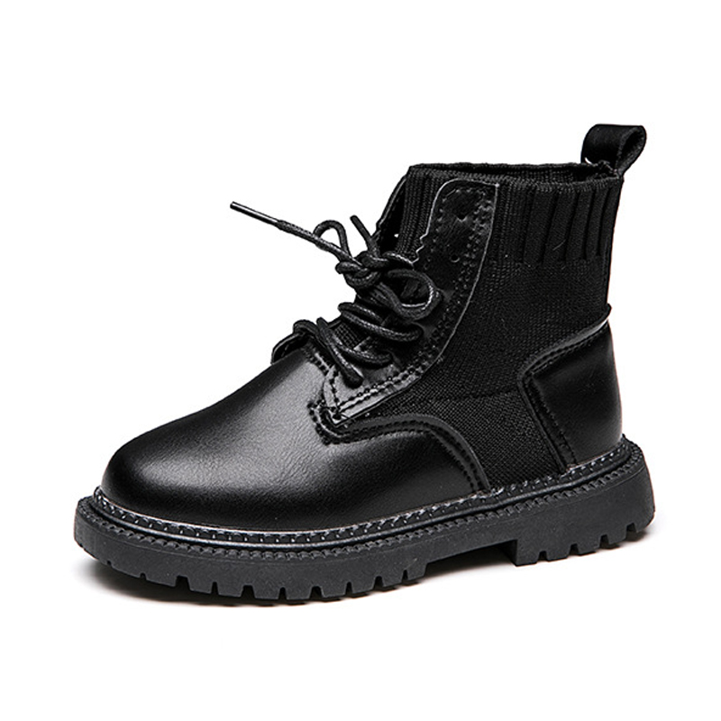 Shoes Knit Leather Ankle Boots