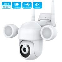 1080P Wifi PTZ Kamera Outdoor Flutlicht Hof Beleuchtung IP Kamera Farbe Nachtsicht 2MP PTZ WiFi Hause CCTV Sicherheit kamera