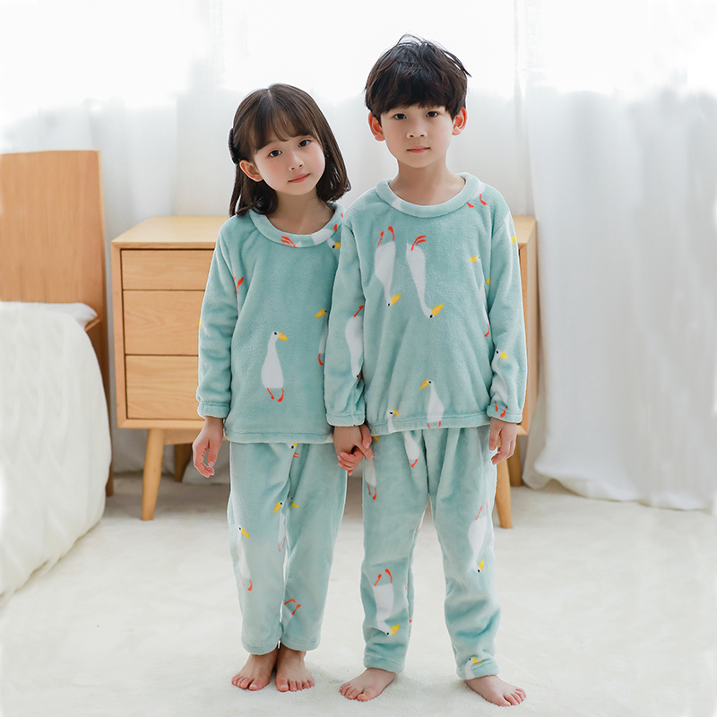 Flannel Children Pajamas Kids Sleepwear Boys Girls Nightwear Winter Warm Long-sleeve Pyjamas Kids Clothes Suit Child Homewear