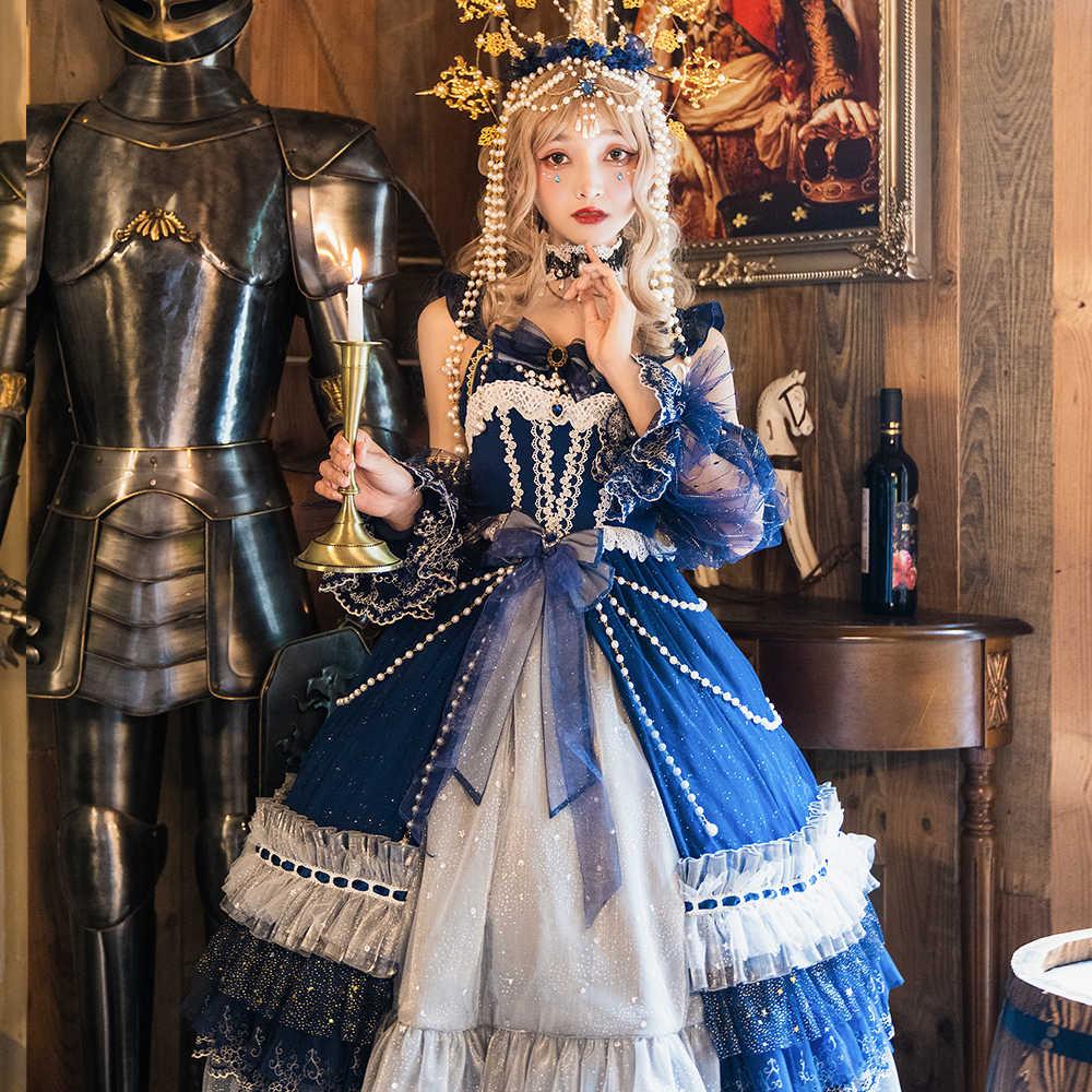 Melonshow Gothic Lolita Gaun Plus Ukuran Wanita Victoria Gaun Biru Kawaii Pakaian Court Gaya Mulia Gaun Retro Renaissance