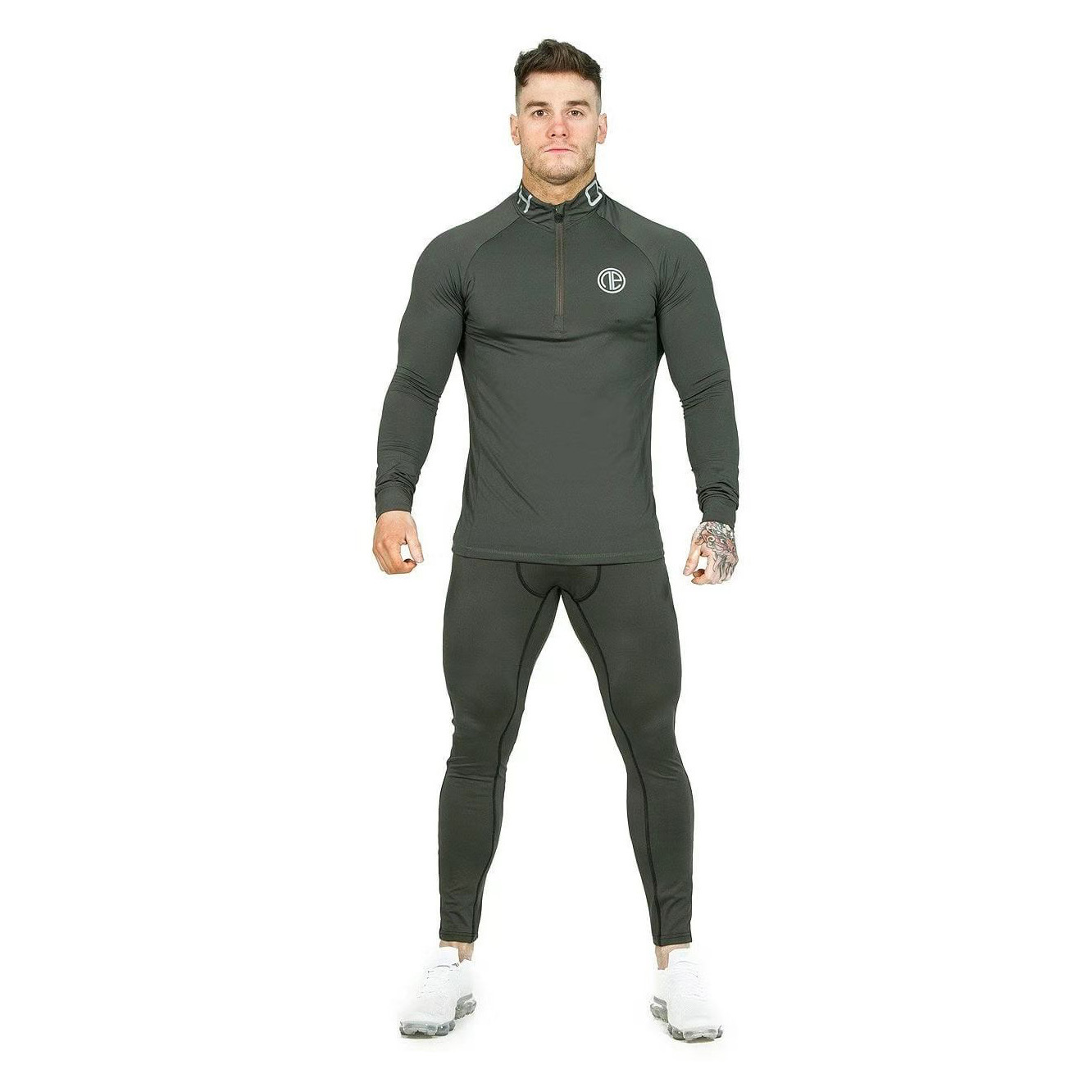 New Style Muscular Men Brothers Sports Set Men's Fitness Suit Two-Piece Set Trousers Long-sleeve Suit Elasticity Tights