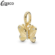 CUTEECO Shining Gold Color Butterfly Pendant Fit Pandora Charm Bracelet For Women Life Nature Series Jewelry Accessories Gift