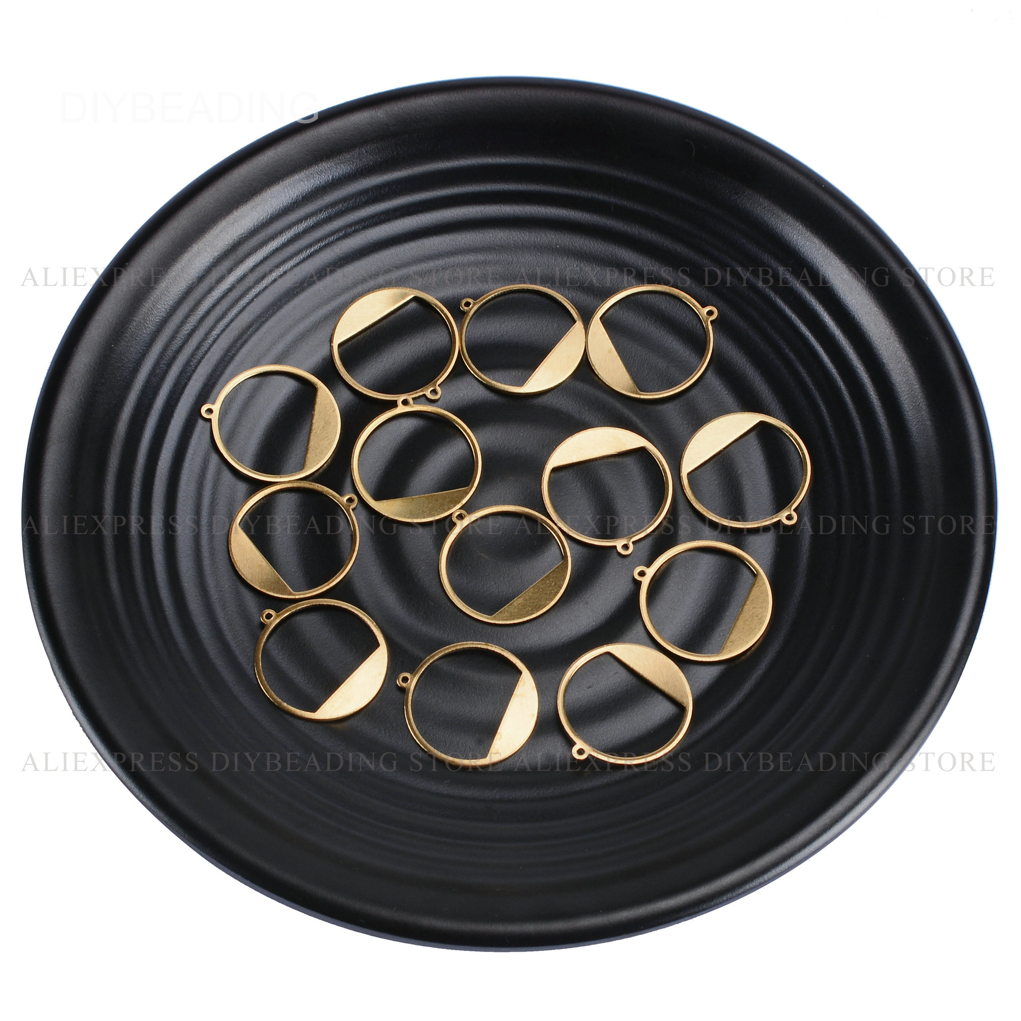 20-1000 Pcs Brass Round Circle Charms For Earring Necklace Making Hollow Geometric Metal Pendant Finding Bulk Wholesale (20mm)