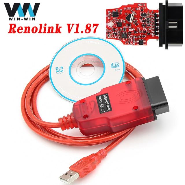 새로운 Renolink V1.87 OBD2 르노 ECU 프로그래머 OBD 2 OBD2 진단 자동 도구 에어백 재설정 키 코딩 ECM UCH Renolink 1.87