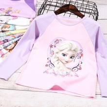 Meninas de primavera e outono congelados manga longa camiseta fina bebê topos crianças dos desenhos animados princesa undershirt roupas de moda