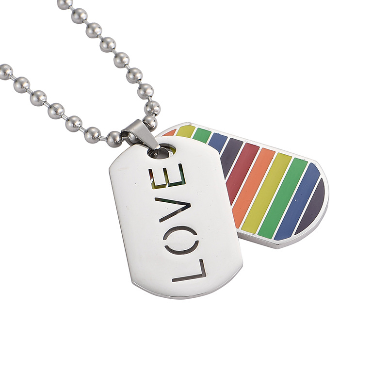 Stainless Steel Gay Pride Love Rainbow Jewelry Lesbian LGBT <font><b>Dog</b></font> Tag Pendants Beaded Choker Necklaces For Women Men Jewelery image