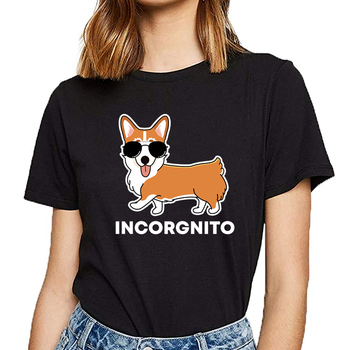 Tops T Shirt Women funny corgi incorgnito dog pun cute pet Humor White Custom Female Tshirt