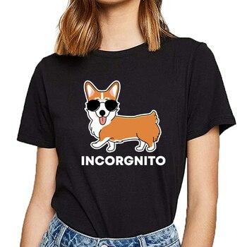 Tops T Shirt Women funny corgi incorgnito dog pun cute pet Humor White Custom Female Tshirt