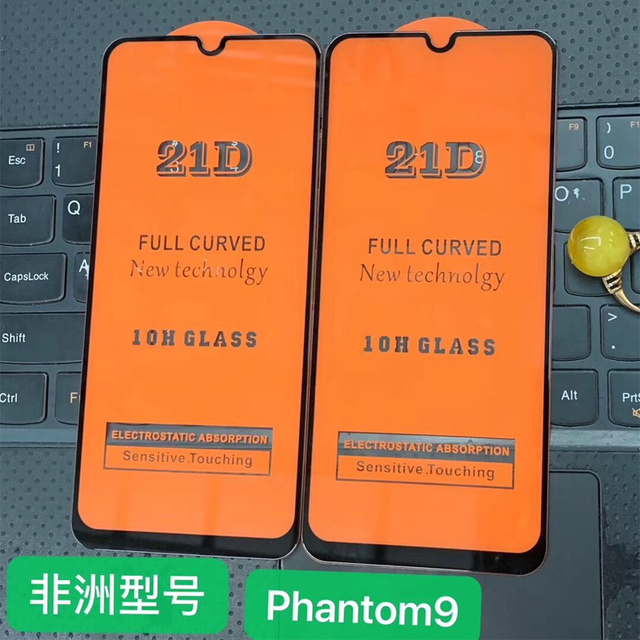 21D מלא דבק מזג זכוכית עבור Tecno פנטום 9 9H מלא מסך כיסוי מסך מגן סרט עבור Tecno פנטום 9