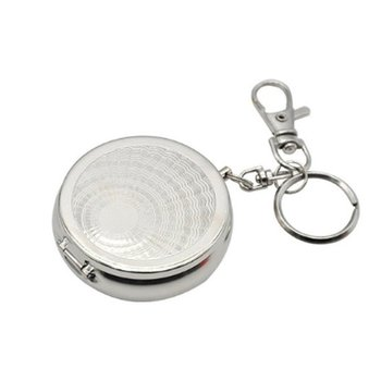 Portable Pocket Ashtray/Vehicle Cigarette Ashtray Mini Stainless Steel Ashtray with Key Chain and Cigarette Snuffer Dropshipping 4477 extrusion switch stainless steel ashtray silver