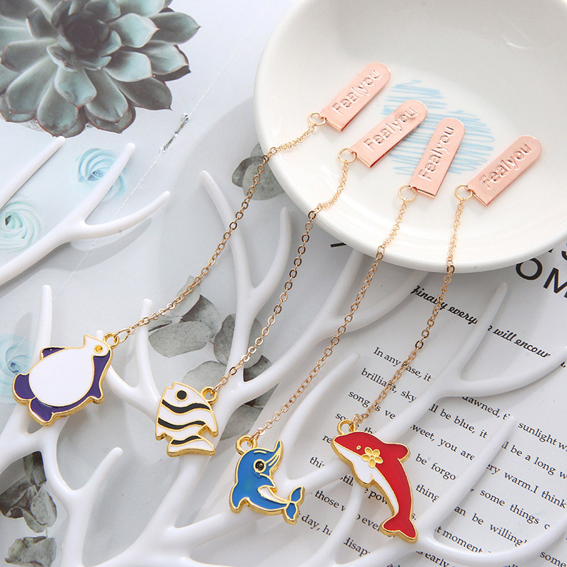 Creative Metallic Pendant Book Mark Cute Dolphin Whale Bookmarks For Book Kid Girl Gift School Office Supplies Korean Stationery