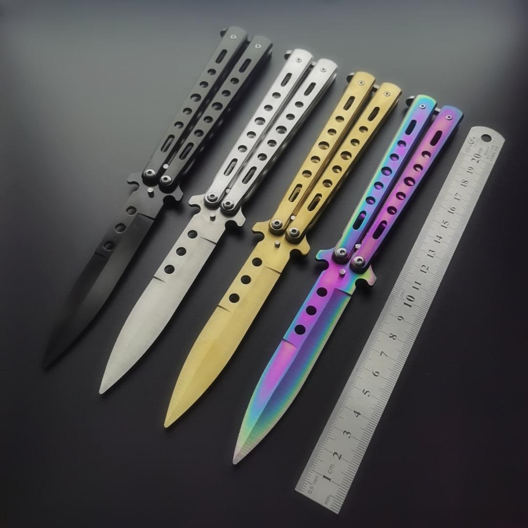 Нож-бабочка, Подарочный нож, стальной тренировочный складной нож, титановый учебный инструмент, без заточенного края, набор тренировочных н...