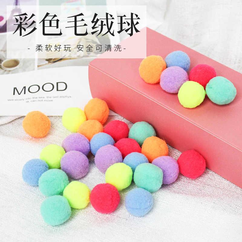 30 sztuk zabawka dla kota cicha zabawka pluszowa piłka kolorowa pluszowa piłka Macaron Multicolor gra logiczna grywalna odpowiednia dla wszystkich kotów zabawka dla zwierząt