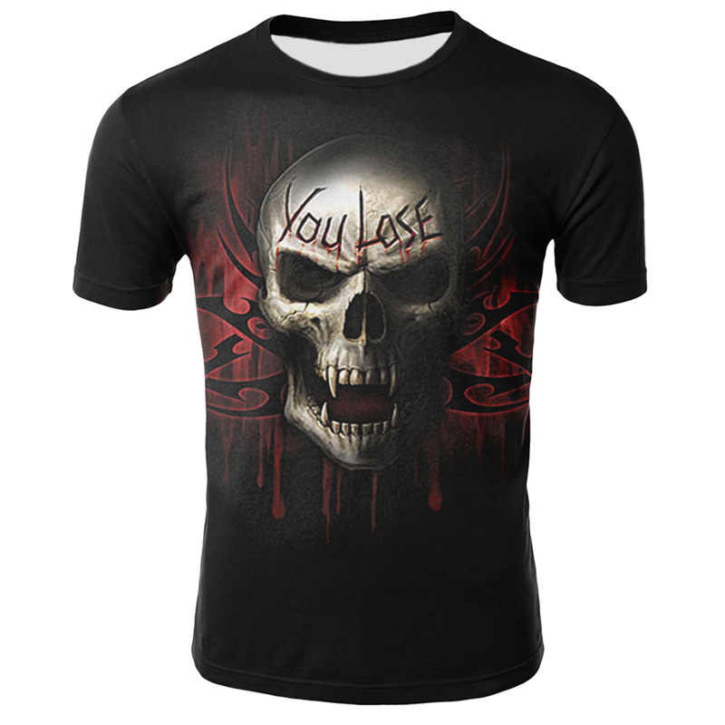 2019 Nuovo 3D Del Cranio Poker Divertente T Camicette Calda Degli Uomini di Marca Mens Casual 3D Stampato T-Shirt Da Uomo Vestiti della maglietta di Estate magliette e camicette Magliette Maschio