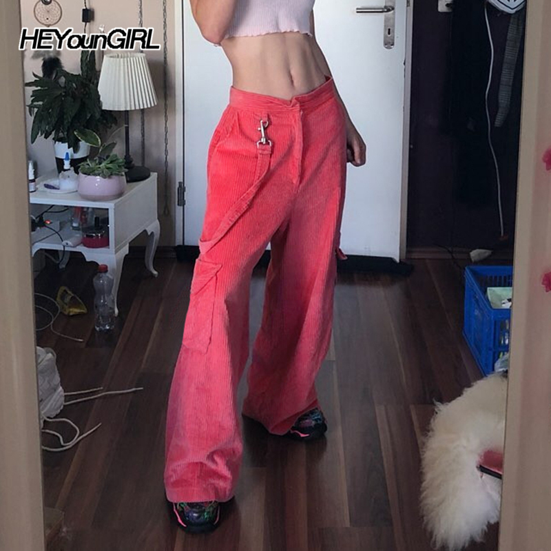 HEYounGIRL Pink Corduroy Straight Pants Capri with Strips Loose High Waist Woman Pants Casual Autumn Winter Ladies Trousers 2019