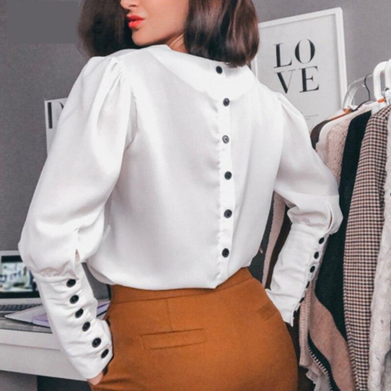 Femmes bouton décontracté col en v hauts et chemisiers dames à manches longues solide Vintage chemises 2019 femmes automne OL Style grande taille Blusas