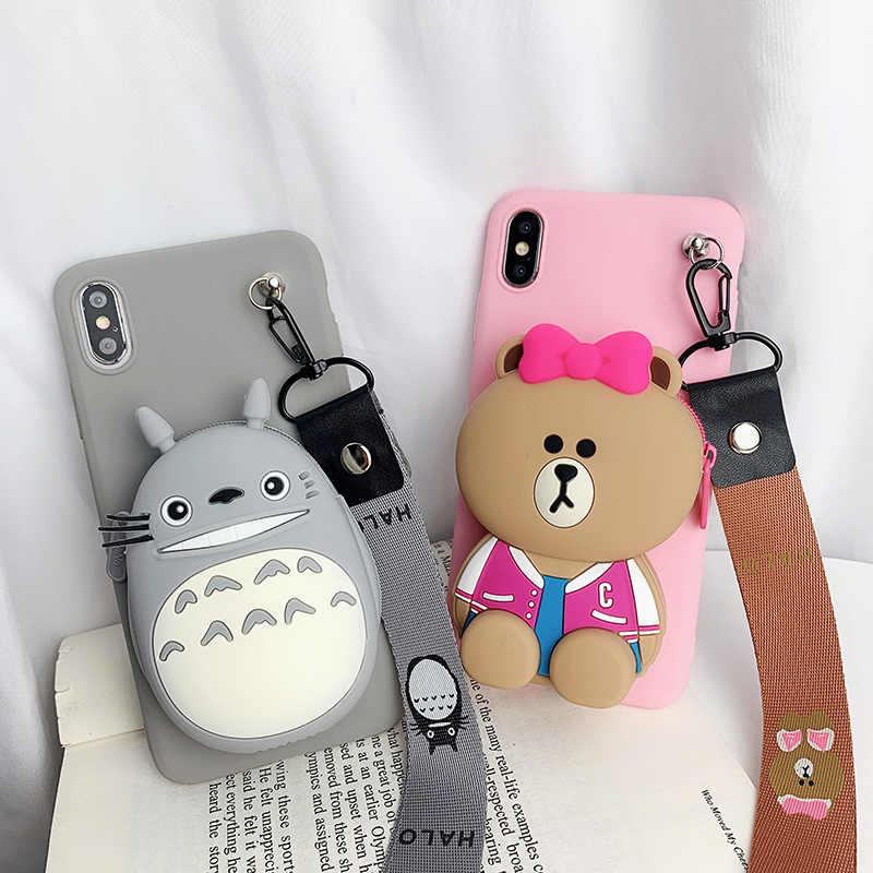Totoro Carteira Bolsa Para Huawei Honra P30 Pro 5X 6X 7X8X10 9 Lite 9i V10 8A 8C 9 10 Companheiro 20 x phone Case Capa Funda estojo bonito
