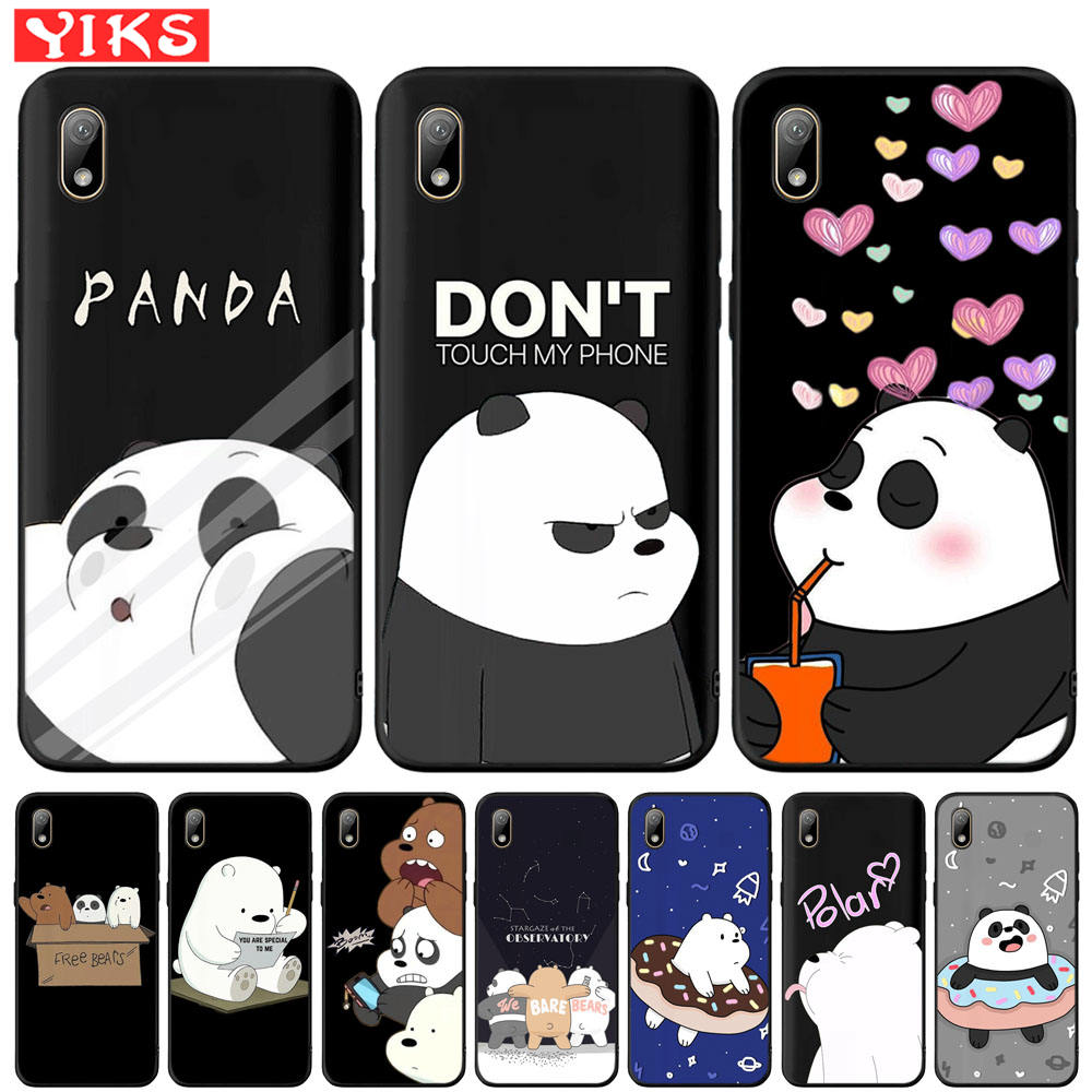 Cute Panda Cover For <font><b>Huawei</b></font> Y5 Lite Y6 Prime <font><b>2018</b></font> 2019 <font><b>Y7</b></font> Y9 Prime 2019 Lovely Bear Case For Honor 7A Pro 8S P Smart Z Fundas image