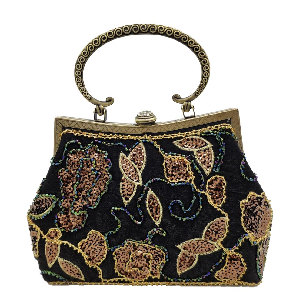Boutique De FGG Vintage Chinese Style Women Bkack Beaded Evening Purse Wedding Clutches Sequins Embroidery Frame Flower Handbag