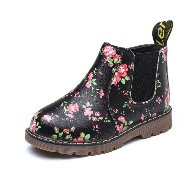 Ankle Boots Kids PU Leather Plush Toddler Sneaker Girls Boys Floral Zipper Boots Waterproof Causal Snow Boots Shoes