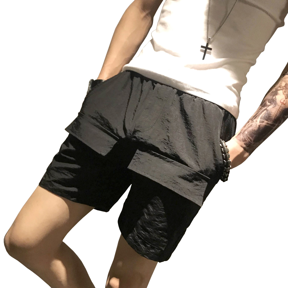 Elastic Men Shorts Summer Casual Mid Waist Beach Cargo Shorts Work With Pockets Fashion Thin Kleding Overwatch Pants XX60MS