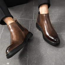 Winter Chelsea Boots Men Leather Shoes Men Ankle Boots Fashi