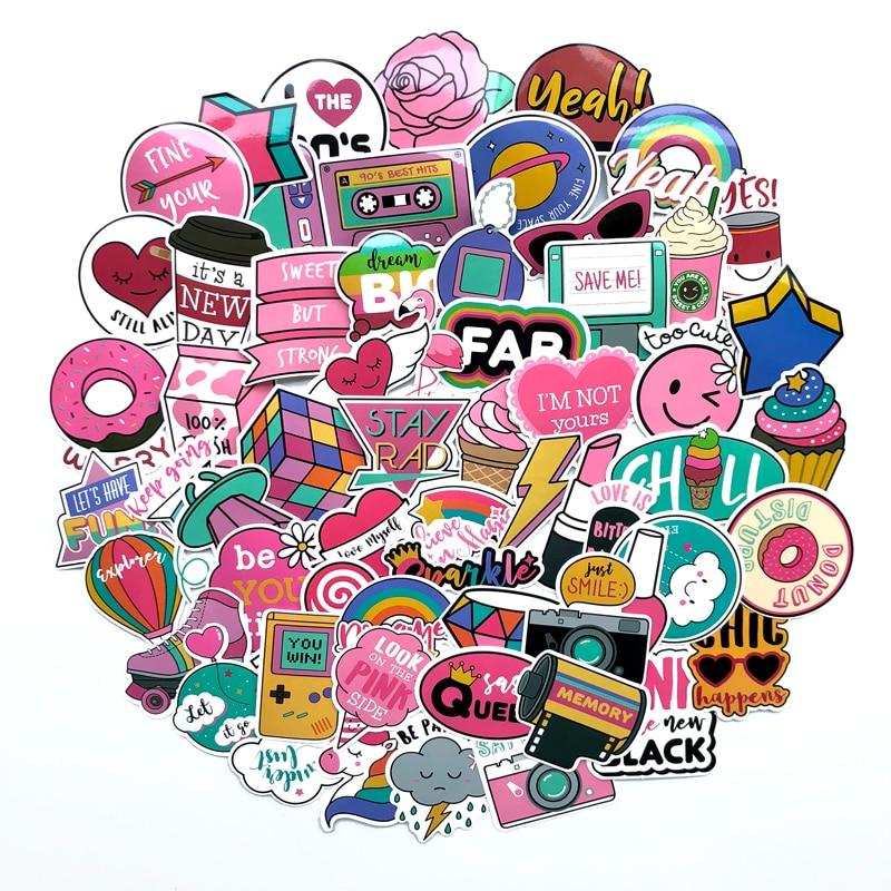 60 шт./упак. ПВХ Водонепроницаемый розовое шерстяное пальто для девочек Забавные стикеры игрушки багаж наклейки для Moto машинок с дистанционн...