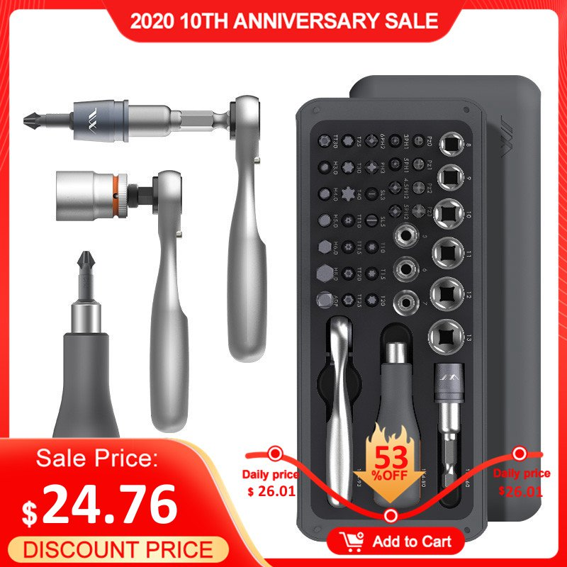 [2019 New] JIMI 41 IN 1 Screwdriver S2 Magnetic Bits Ratchet Wrench Screwdrivers Kit DIY Household Repair Tool