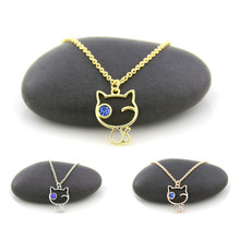 New Gold Color Tiny Cute Cat Pendant Necklaces For Women Thin Chain Blue Cyrstal Eye Animal Cat Pet Lover Couple Necklace Girls(China)