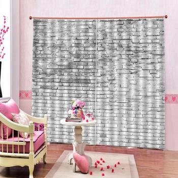 Decoration curtains Beautiful Photo Fashion Customized 3D Curtains grey brick curtains