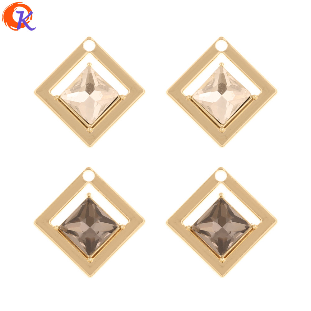 Cordial Design 50Pcs 21*21MM Jewelry Accessories/Earring Findings/Rhinestone Charms/Geometry Shape/Hand Made/DIY Earrings Making