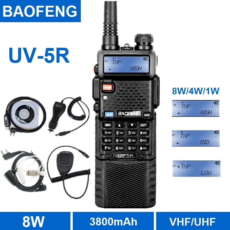 Baofeng UV-5R 8W Walkie Talkie 10KM 3800mAh Portable CB Radio Transceiver UV 5R VHF UHF Dual Band Ham Radio Station Transmitter
