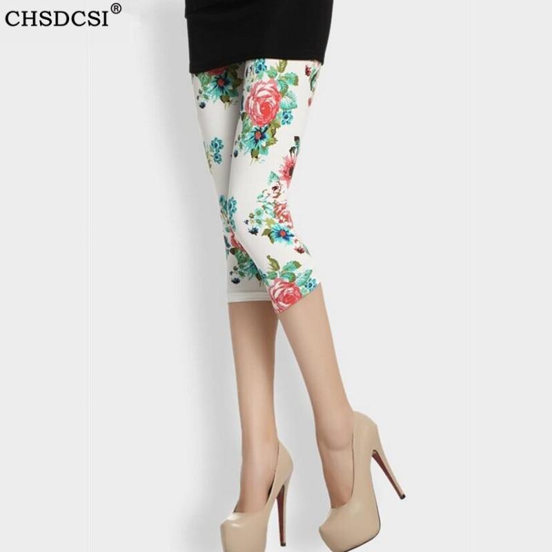 CUHAKCI Short Leggings Summer Women Capris Floral Print Legging Slim Sexy Leggins Black White Casual Sportwear Fitness Legging