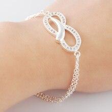 New Bracelet 925 Silver Clear CZ Charm Bracelet For Women Wedding Jewelry Gift