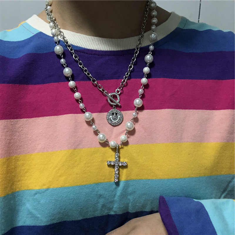 2020 Hip Hop Multi-layer Smiley Irregular Pearls Cross Chain Metal Beads Line Chain Necklace for Women Jewelry