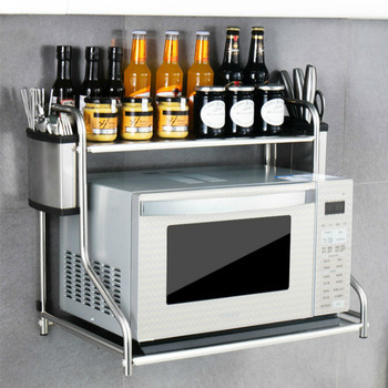 Stainless steel microwave oven racks Wall-mounted household double Storage bracket kitchen supplies