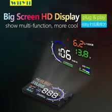 """Aixz novo obd2 hud cabeça do carro up display 5.8 """"a8 obd head up digital led windscreen projetor scanner alarme de excesso de velocidade aviso de combustível"""