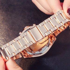 Image 5 - Cao Cấp Hàng Đầu Hoa Hồng Vàng Nữ Đồng Hồ Chống Thấm Nước Lịch Độc Đáo Thạch Anh Công Sở Đồng Hồ Nữ Vàng Đồng Hồ